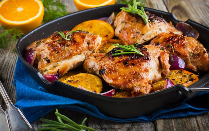 Roasted chicken with oranges and herbs